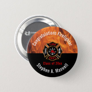 Congratulations Firefighter Flames Class | Name 2 Inch Round Button