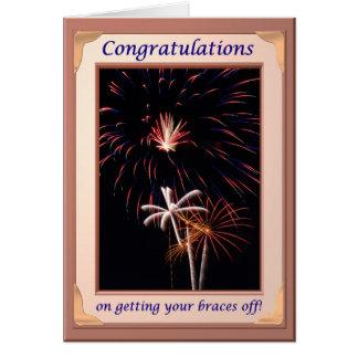 Congratulations Fireworks Braces Off Card