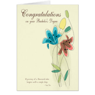 Congratulations for Bachelor's Degree with Flower Greeting Card