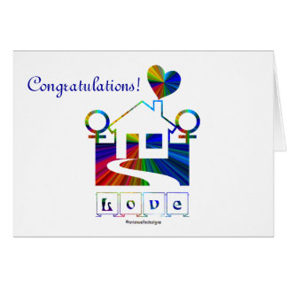 Congratulations!-Gay Marriage Rainbow House/Quote Card