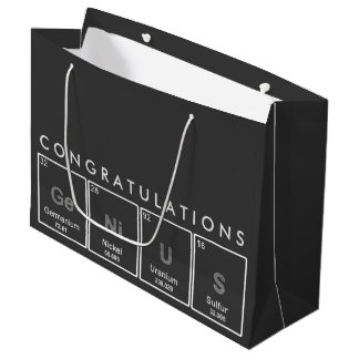 Congratulations GeNiUS elements chalkboard design Large Gift Bag