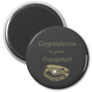 Congratulations Gold Engagement Rings 2 Inch Round Magnet