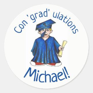 Congratulations Grad Graduation Graduate Cap Gown Classic Round Sticker