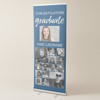 Congratulations Graduate 15 Square Photo Collage Retractable Banner