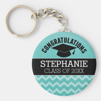 Congratulations Graduate - Aqua Black Graduation Basic Round Button Keychain