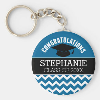 Congratulations Graduate - Blue Black Graduation Basic Round Button Keychain
