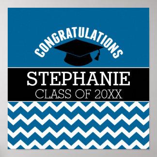 Congratulations Graduate - Blue Black Graduation Poster