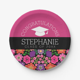 Congratulations Graduate Girly Flowers Graduation 7 Inch Paper Plate