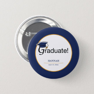 Congratulations Graduate, Hat, Tassel, Blue, Gold 2 Inch Round Button