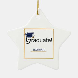 Congratulations Graduate, Hat, Tassel, Blue, Gold Ceramic Ornament