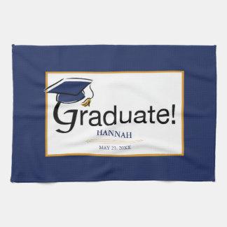 Congratulations Graduate, Hat, Tassel, Blue, Gold Kitchen Towel