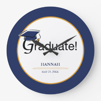 Congratulations Graduate, Hat, Tassel, Blue, Gold Large Clock