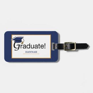 Congratulations Graduate, Hat, Tassel, Blue, Gold Luggage Tag