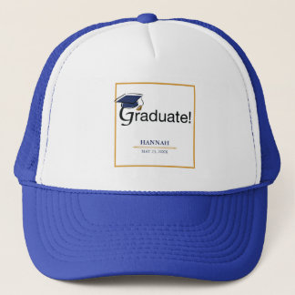 Congratulations Graduate, Hat, Tassel, Blue, Gold Trucker Hat