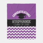 Congratulations Graduate - Purple Black Graduation Fleece Blanket