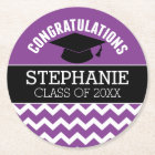 Congratulations Graduate - Purple Black Graduation Round Paper Coaster