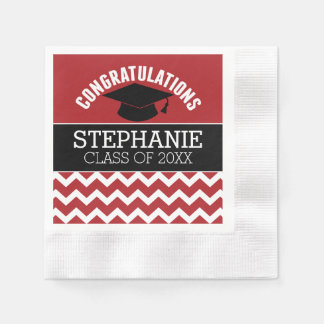 Congratulations Graduate - Red Black Graduation Paper Napkin