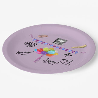 Congratulations Graduate with baloons and banner Paper Plate