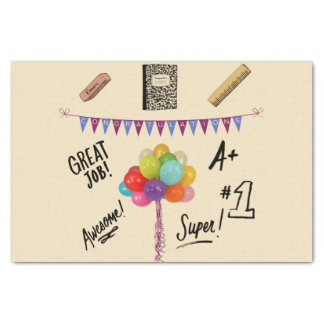 Congratulations Graduate with baloons and banner Tissue Paper