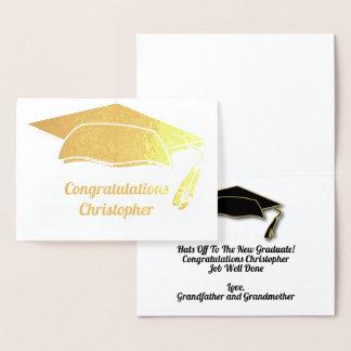 Congratulations Graduation Cap & Tassel Modern Foil Card