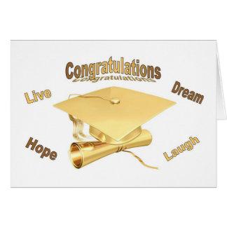 Congratulations Graduation Card gold cap diploma