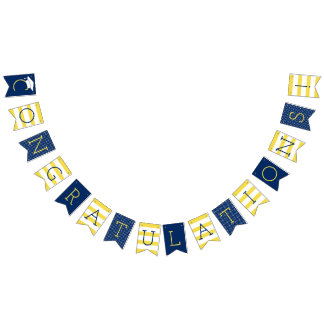 Congratulations Graduation Party | Yellow and Navy Bunting Flags