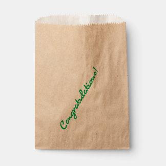 Congratulations Green Casual Script Favour Bag