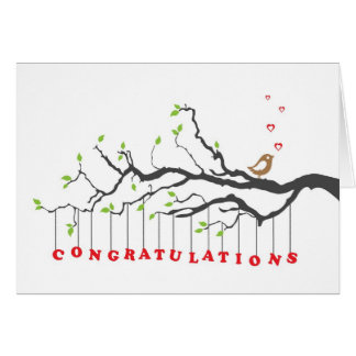Congratulations greeting card with bird singing