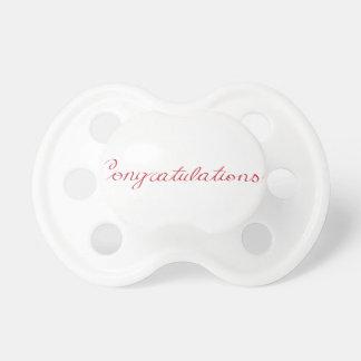 Congratulations - handwritten note pacifier