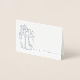 Congratulations Heart Cupcake Wedding Brida Shower Foil Card