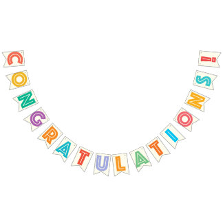 CONGRATULATIONS - IVORY WHITE & MULTICOLOR TEXT BUNTING FLAGS