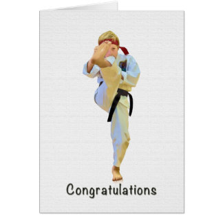Congratulations, Karate Kicking Black Belt Card