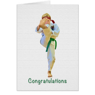 Congratulations, Karate Kicking Green Belt Card