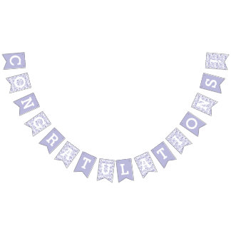 Congratulations Lavender Leaves Pattern Bunting Flags