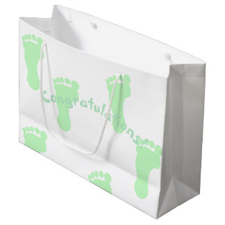 Congratulations Mint Green Footprint Patterned Large Gift Bag