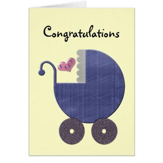 Congratulations New Baby Boy with Blue Pram Art Card