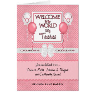 Congratulations New Baby Girl Taurus Greeting Card
