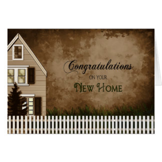Congratulations - New Home - Brown Tones Greeting Card