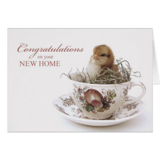 Congratulations New Home, Chick in Teacup Card