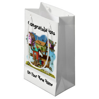 Congratulations New Home Sweet Tiny Tree Houses Small Gift Bag