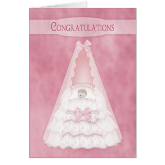 Congratulations on Baby Girl - Baby in Bassinet Card