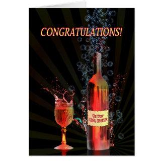 Congratulations on civil union with splashing wine card