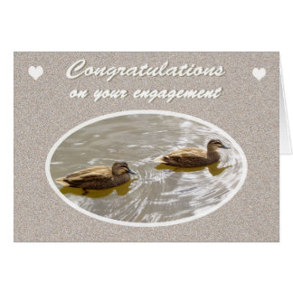 Congratulations on Engagement, Pair of Wood Ducks Card