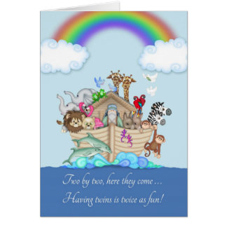 Congratulations on expecting Twins - Noah's Ark Card