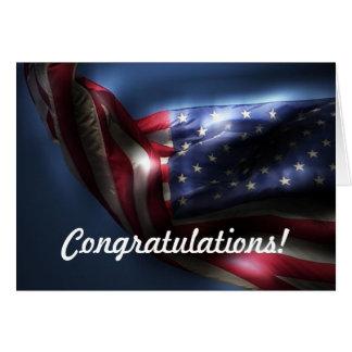 Congratulations on Green Card!-American Flag Card