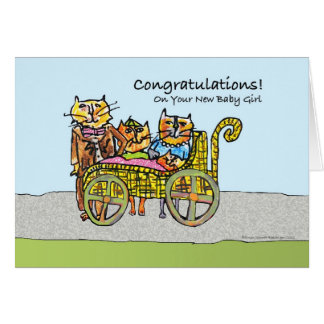 Congratulations on New Baby Girl, Cat Family Card