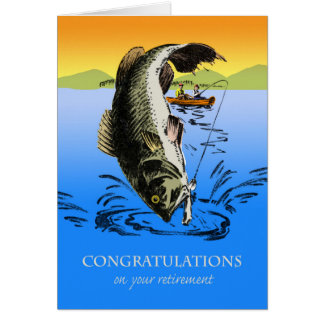 Congratulations on Retirement, Vintage Fishing Card
