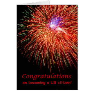 Congratulations on US Citizenship, Red Fireworks Card