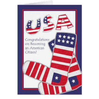 Congratulations on USA Citizenship, Patriotic Sock Greeting Card