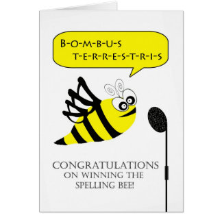 Congratulations on Winning Spelling Bee Card